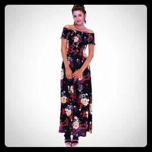 En Creme off shoulder floral dress